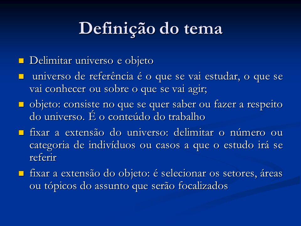 Definição do tema Delimitar universo e objeto Delimitar universo e objeto universo de referência é o que se vai estudar, o que se vai conhecer ou sobr