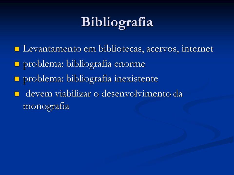 Bibliografia Levantamento em bibliotecas, acervos, internet Levantamento em bibliotecas, acervos, internet problema: bibliografia enorme problema: bib