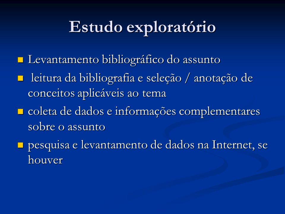Estudo exploratório Levantamento bibliográfico do assunto Levantamento bibliográfico do assunto leitura da bibliografia e seleção / anotação de concei