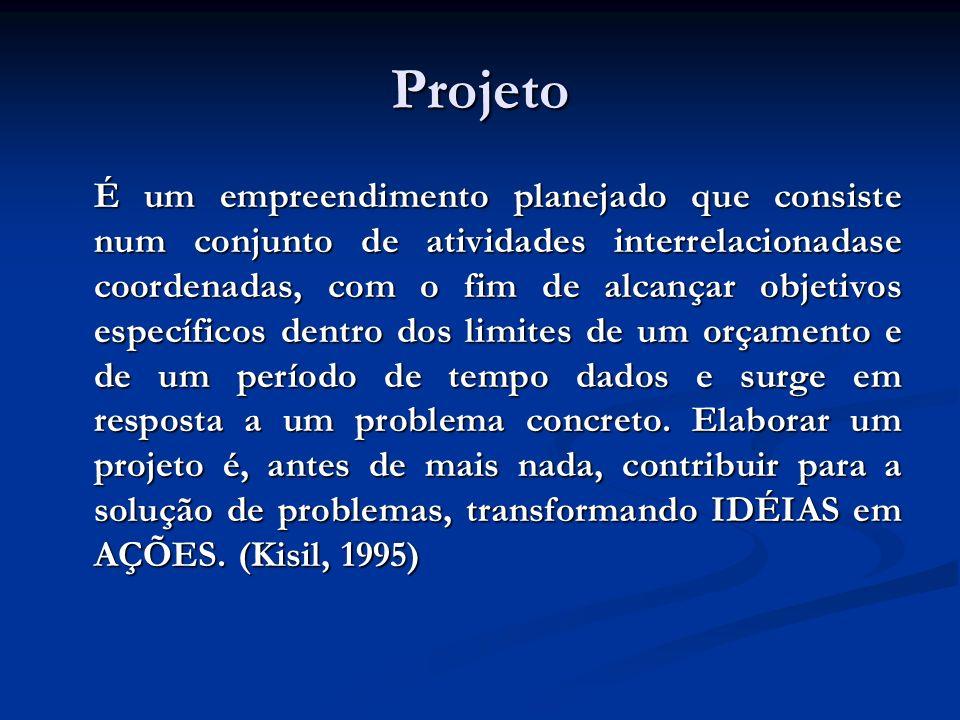 Projeto É um empreendimento planejado que consiste num conjunto de atividades interrelacionadase coordenadas, com o fim de alcançar objetivos específi