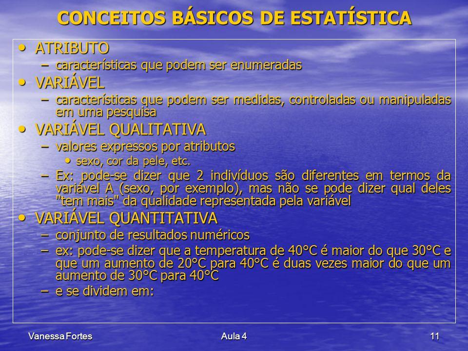 Vanessa FortesAula 411 ATRIBUTO ATRIBUTO –características que podem ser enumeradas VARIÁVEL VARIÁVEL –características que podem ser medidas, controlad