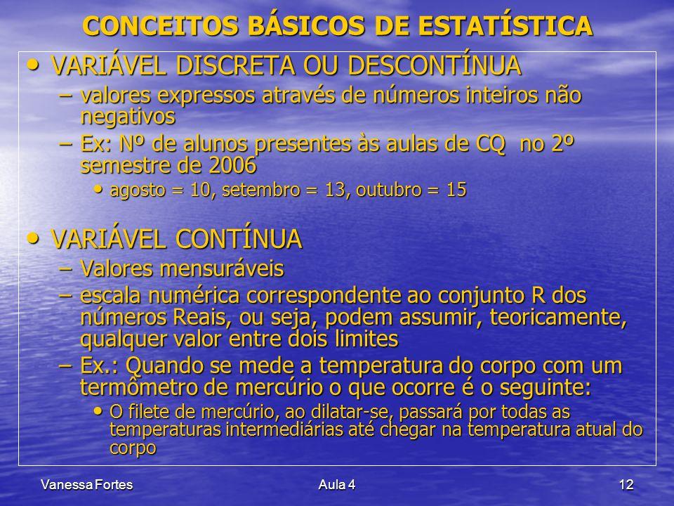 Vanessa FortesAula 412 VARIÁVEL DISCRETA OU DESCONTÍNUA VARIÁVEL DISCRETA OU DESCONTÍNUA –valores expressos através de números inteiros não negativos