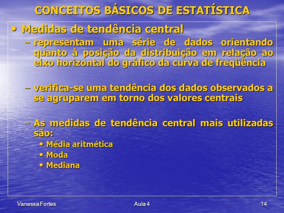 Vanessa FortesAula 414 Medidas de tendência central Medidas de tendência central –representam uma série de dados orientando quanto à posição da distri