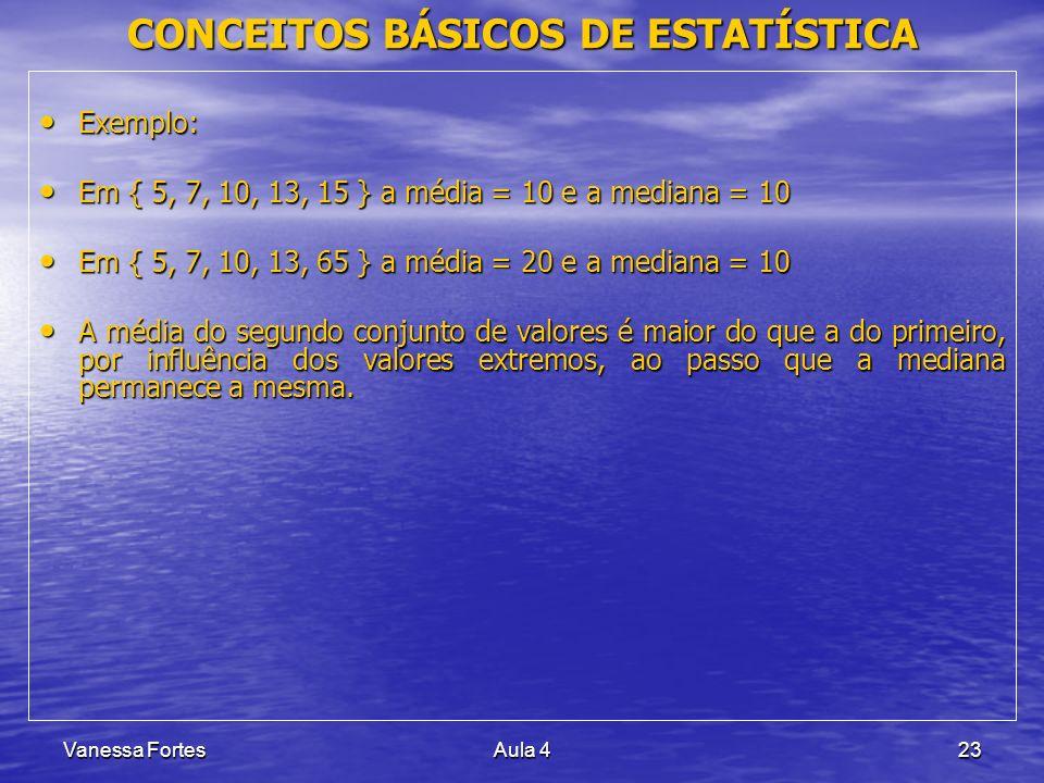 Vanessa FortesAula 423 Exemplo: Exemplo: Em { 5, 7, 10, 13, 15 } a média = 10 e a mediana = 10 Em { 5, 7, 10, 13, 15 } a média = 10 e a mediana = 10 E