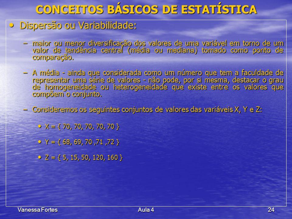 Vanessa FortesAula 424 Dispersão ou Variabilidade: Dispersão ou Variabilidade: –maior ou menor diversificação dos valores de uma variável em torno de