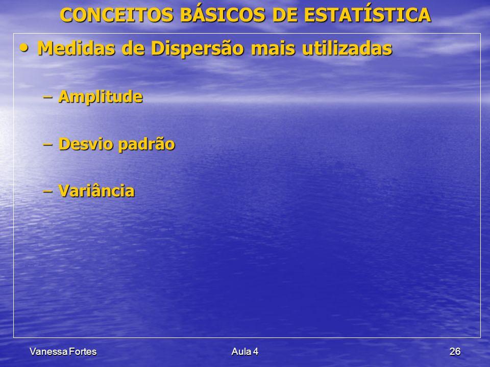 Vanessa FortesAula 426 CONCEITOS BÁSICOS DE ESTATÍSTICA Medidas de Dispersão mais utilizadas Medidas de Dispersão mais utilizadas –Amplitude –Desvio p
