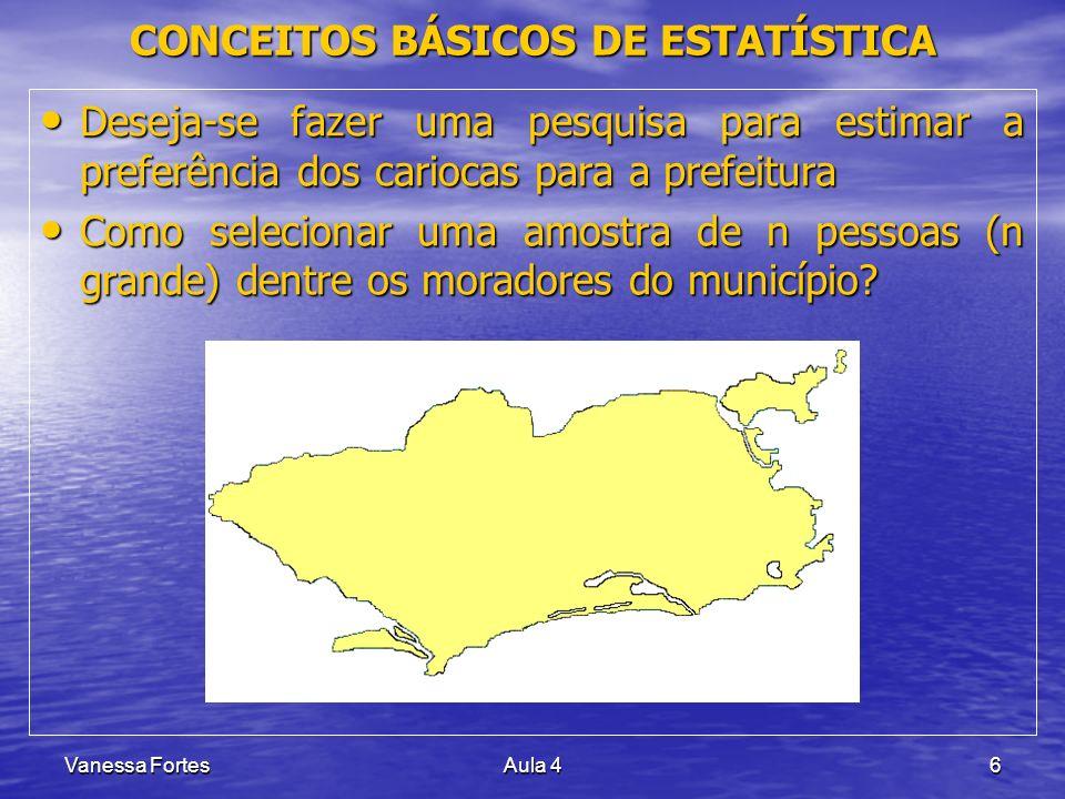 Vanessa FortesAula 46 Deseja-se fazer uma pesquisa para estimar a preferência dos cariocas para a prefeitura Deseja-se fazer uma pesquisa para estimar
