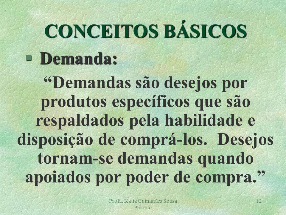 Profa. Katia Guimarães Sousa Palomo 12 § Demanda: Demandas são desejos por produtos específicos que são respaldados pela habilidade e disposição de co
