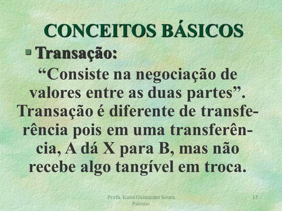 Profa. Katia Guimarães Sousa Palomo 15 §Transação: Consiste na negociação de valores entre as duas partes. Transação é diferente de transfe- rência po