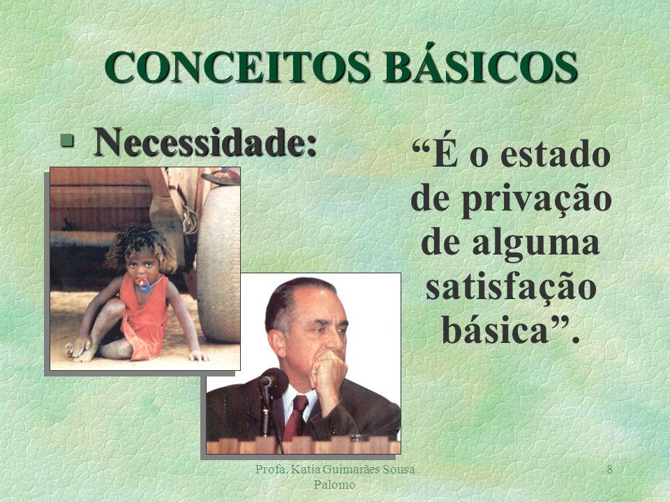 Profa. Katia Guimarães Sousa Palomo 8 § Necessidade: É o estado de privação de alguma satisfação básica. CONCEITOS BÁSICOS