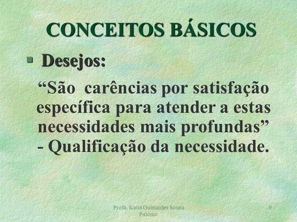 Profa. Katia Guimarães Sousa Palomo 9 § Desejos: São carências por satisfação específica para atender a estas necessidades mais profundas - Qualificaç