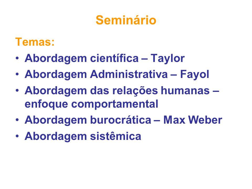 Seminário Temas: Abordagem científica – Taylor Abordagem Administrativa – Fayol Abordagem das relações humanas – enfoque comportamental Abordagem buro