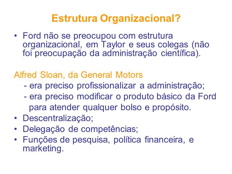 Estrutura Organizacional? Ford não se preocupou com estrutura organizacional, em Taylor e seus colegas (não foi preocupação da administração científic