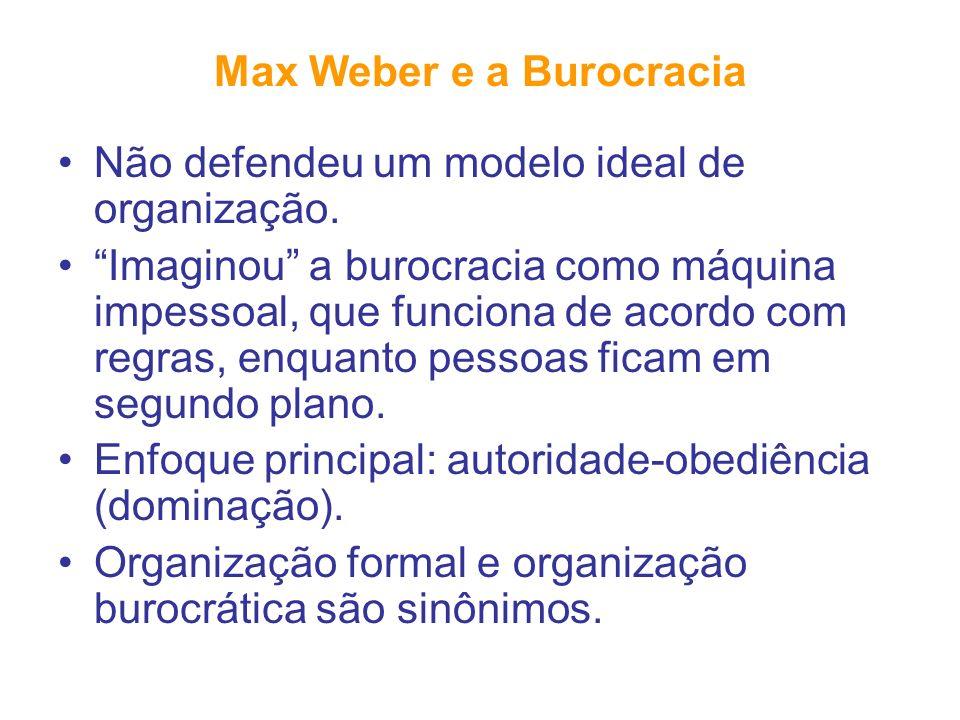 Max Weber e a Burocracia Não defendeu um modelo ideal de organização. Imaginou a burocracia como máquina impessoal, que funciona de acordo com regras,