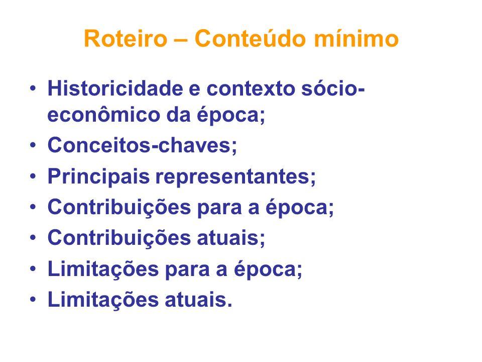 Roteiro – Conteúdo mínimo Historicidade e contexto sócio- econômico da época; Conceitos-chaves; Principais representantes; Contribuições para a época;