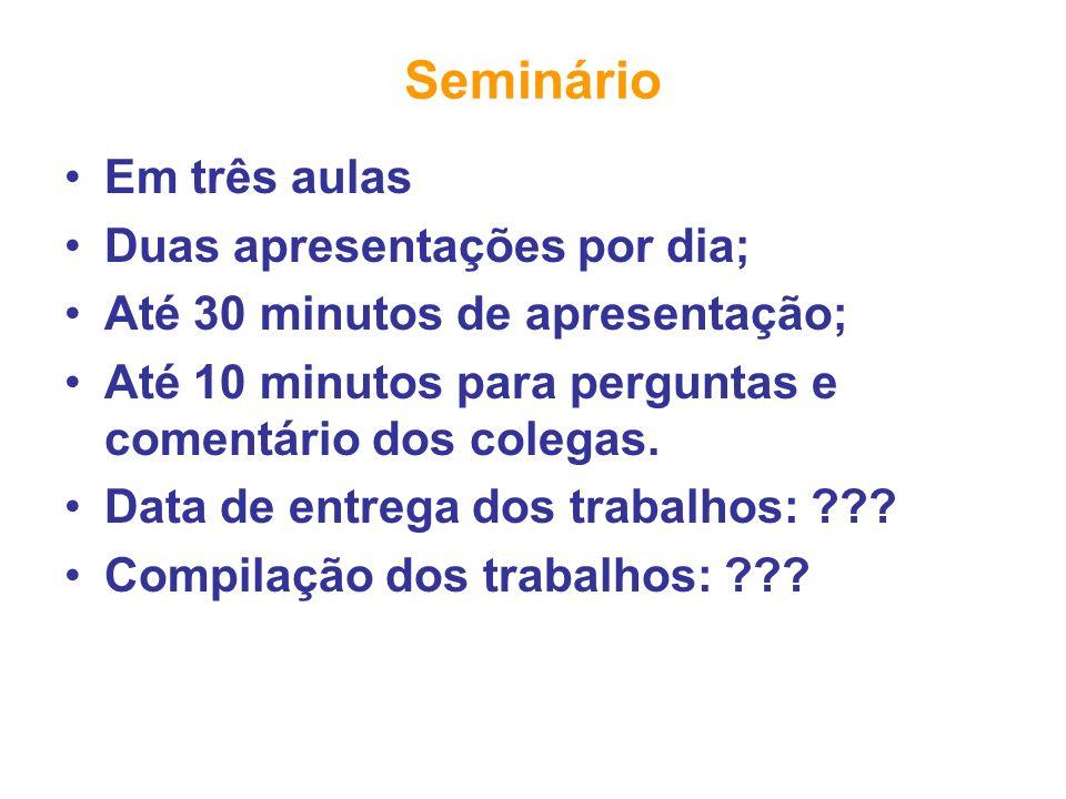 Seminário Em três aulas Duas apresentações por dia; Até 30 minutos de apresentação; Até 10 minutos para perguntas e comentário dos colegas. Data de en