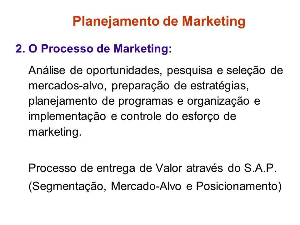 Planejamento de Marketing 1. O Plano de Marketing: Plano Estratégico de Marketing: desenvolve os objetivos e estratégias amplas de marketing baseados