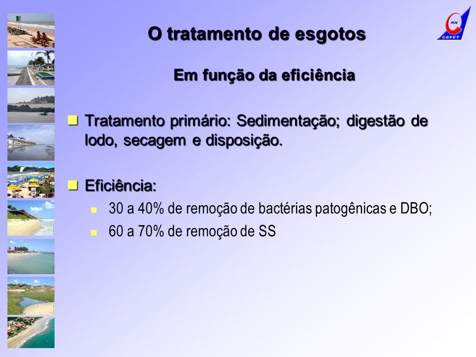 O tratamento de esgotos Em função da eficiência Tratamento primário: Sedimentação; digestão de lodo, secagem e disposição. Tratamento primário: Sedime