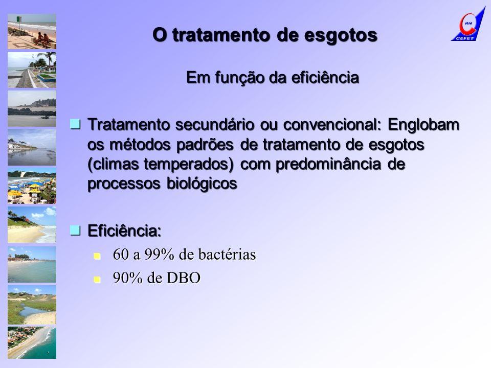 O tratamento de esgotos Em função da eficiência Tratamento secundário ou convencional: Englobam os métodos padrões de tratamento de esgotos (climas te