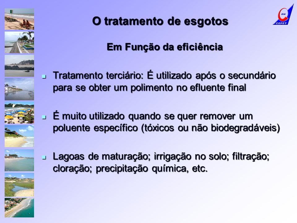 O tratamento de esgotos Em Função da eficiência Tratamento terciário: É utilizado após o secundário para se obter um polimento no efluente final Trata