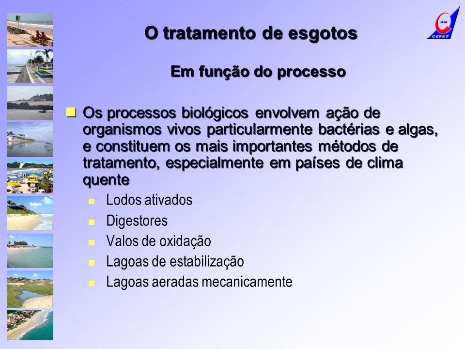 O tratamento de esgotos Em função do processo Os processos biológicos envolvem ação de organismos vivos particularmente bactérias e algas, e constitue