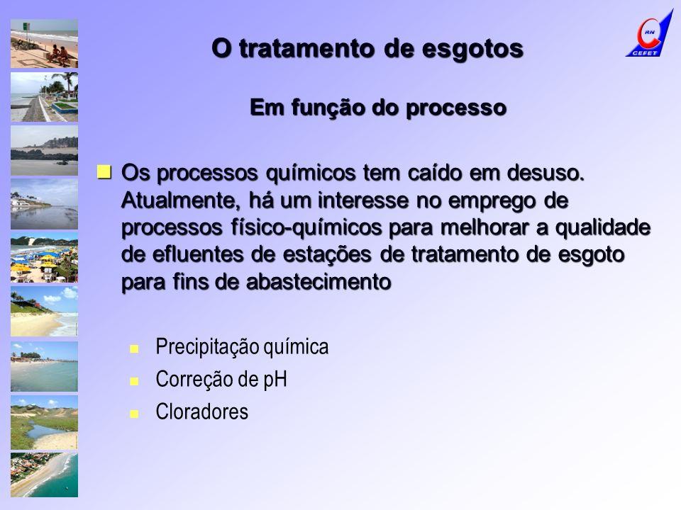 O tratamento de esgotos Em função do processo Os processos químicos tem caído em desuso. Atualmente, há um interesse no emprego de processos físico-qu
