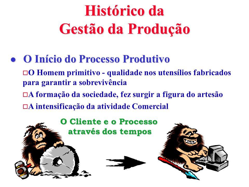 Histórico da Gestão da Produção l O Início do Processo Produtivo o O Homem primitivo - qualidade nos utensílios fabricados para garantir a sobrevivênc