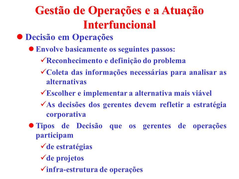Gestão de Operações e a Atuação Interfuncional Decisão em Operações Envolve basicamente os seguintes passos: Reconhecimento e definição do problema Co