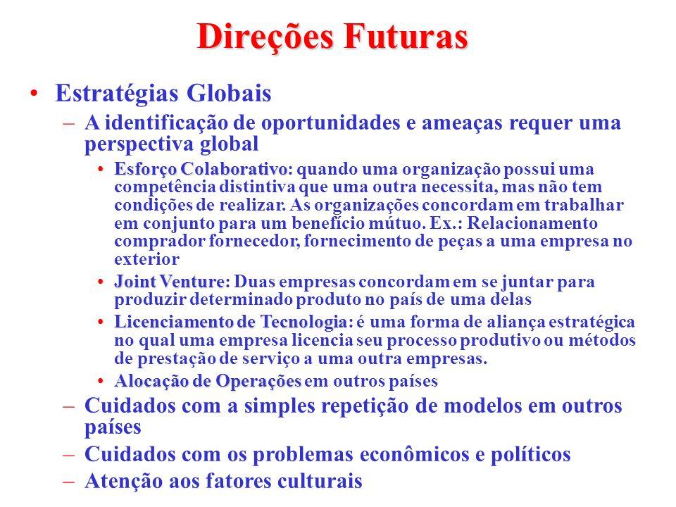 Direções Futuras Estratégias Globais –A identificação de oportunidades e ameaças requer uma perspectiva global Esforço ColaborativoEsforço Colaborativ