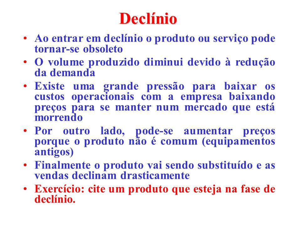 Declínio Ao entrar em declínio o produto ou serviço pode tornar-se obsoleto O volume produzido diminui devido à redução da demanda Existe uma grande p