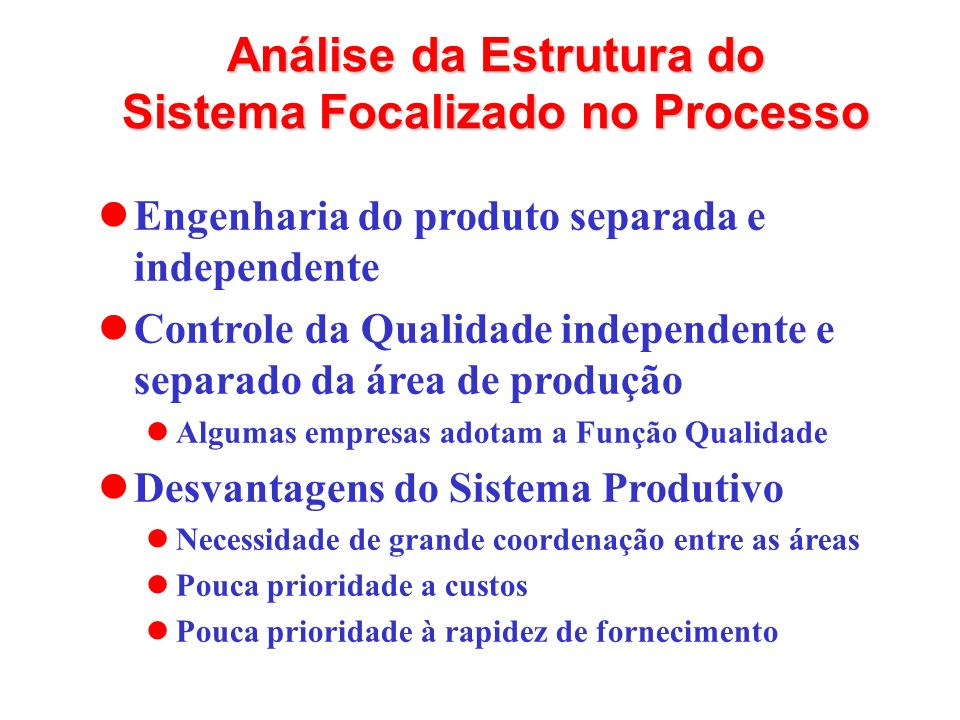 Análise da Estrutura do Sistema Focalizado no Processo Engenharia do produto separada e independente Controle da Qualidade independente e separado da