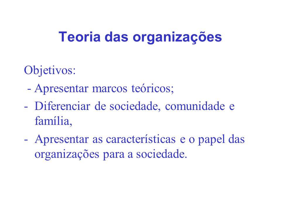 Teoria das organizações Objetivos: - Apresentar marcos teóricos; -Diferenciar de sociedade, comunidade e família, -Apresentar as características e o p