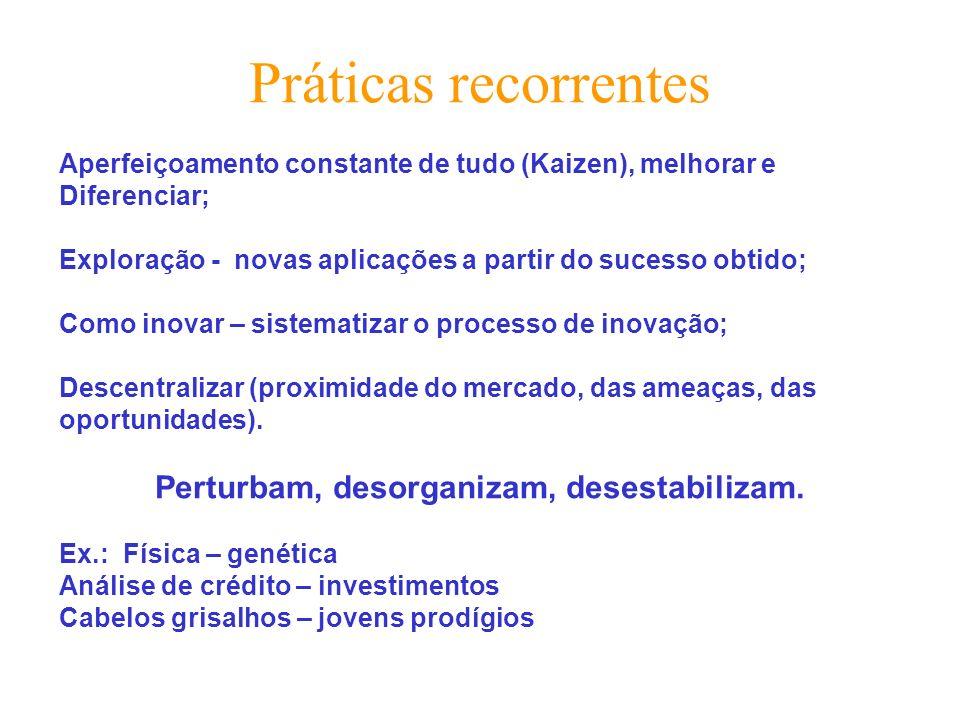 Práticas recorrentes Aperfeiçoamento constante de tudo (Kaizen), melhorar e Diferenciar; Exploração - novas aplicações a partir do sucesso obtido; Com