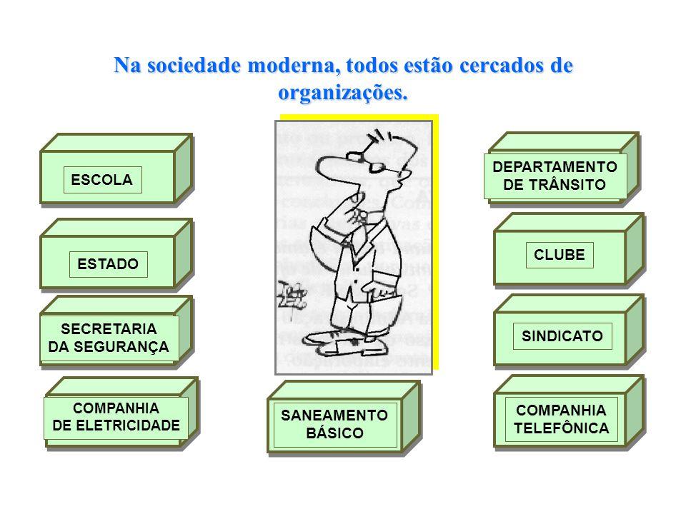 Na sociedade moderna, todos estão cercados de organizações.. DEPARTAMENTO DE TRÂNSITO CLUBESINDICATO COMPANHIA TELEFÔNICA SANEAMENTO BÁSICO COMPANHIA