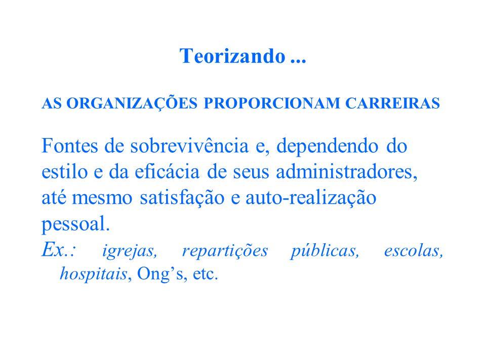 Teorizando... AS ORGANIZAÇÕES PROPORCIONAM CARREIRAS Fontes de sobrevivência e, dependendo do estilo e da eficácia de seus administradores, até mesmo