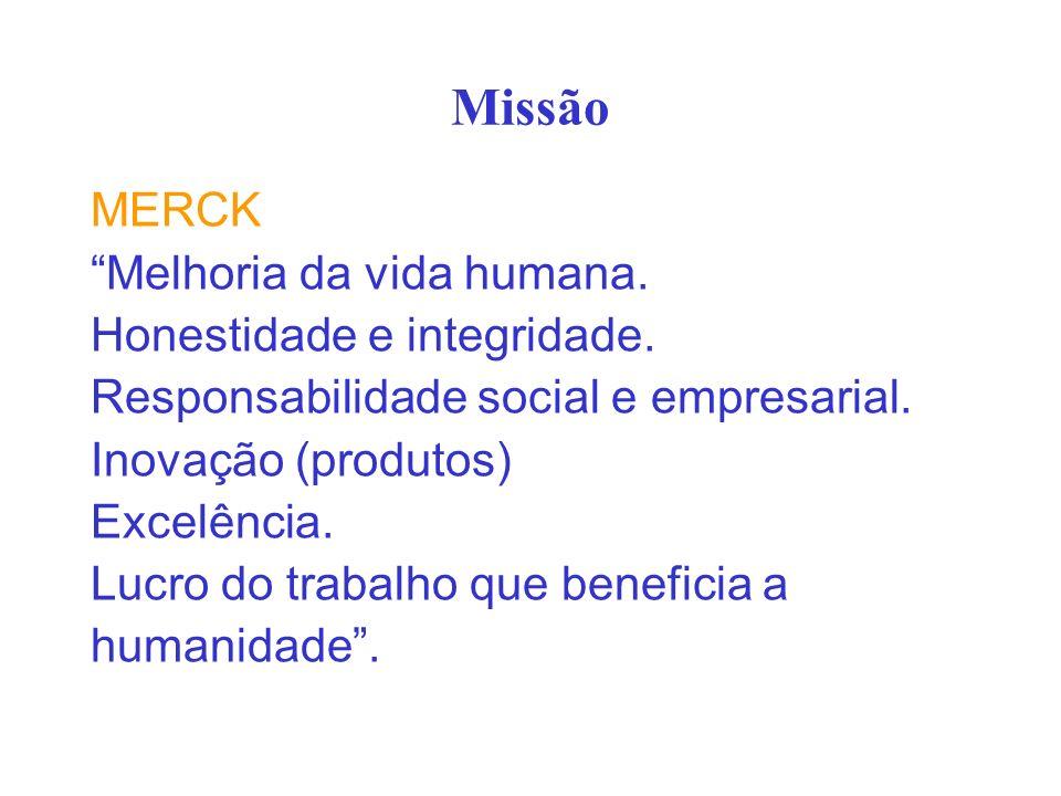 Missão MERCK Melhoria da vida humana. Honestidade e integridade. Responsabilidade social e empresarial. Inovação (produtos) Excelência. Lucro do traba