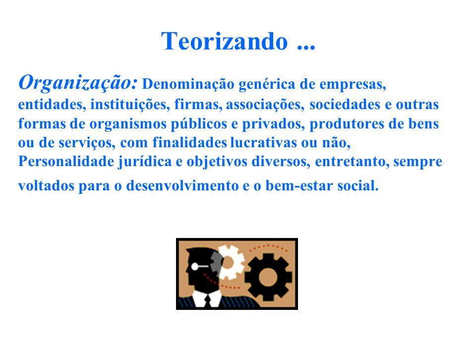 Teorizando... Organização: Denominação genérica de empresas, entidades, instituições, firmas, associações, sociedades e outras formas de organismos pú