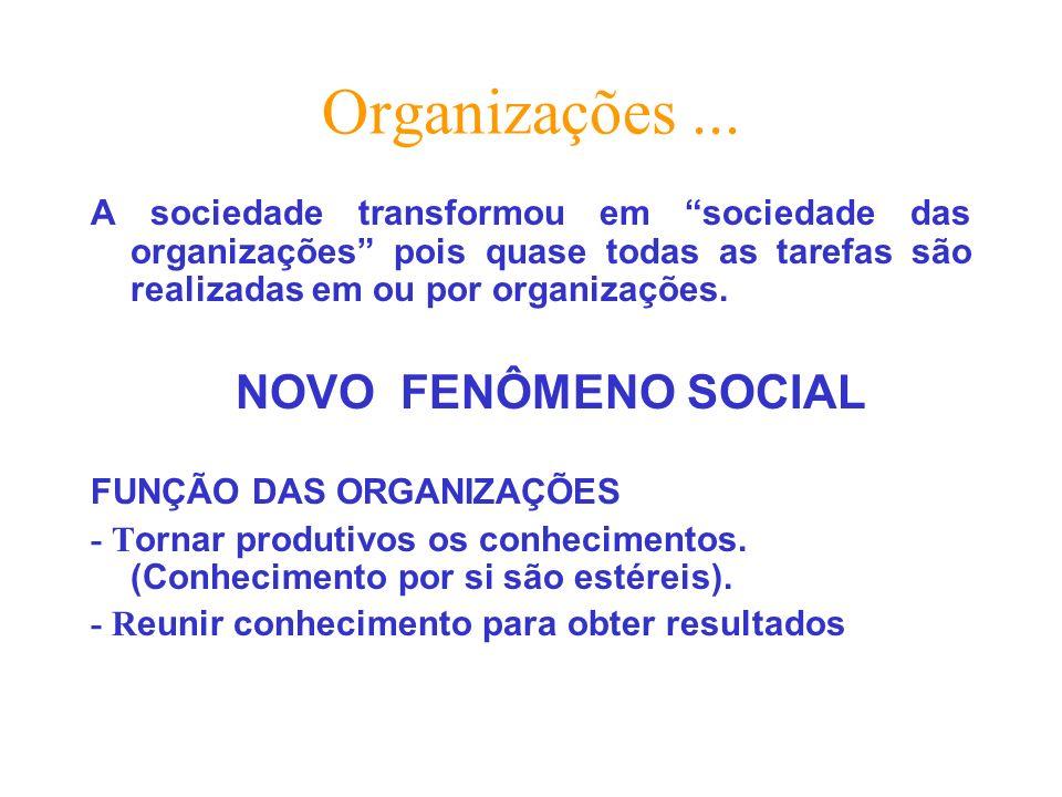 Organizações... A sociedade transformou em sociedade das organizações pois quase todas as tarefas são realizadas em ou por organizações. NOVO FENÔMENO
