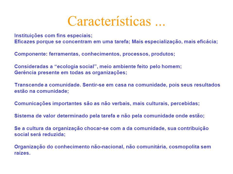 Características... Instituições com fins especiais; Eficazes porque se concentram em uma tarefa; Mais especialização, mais eficácia; Componente: ferra