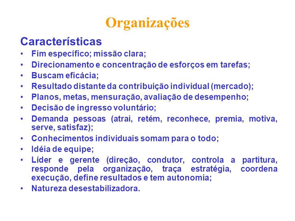 Organizações Características Fim específico; missão clara; Direcionamento e concentração de esforços em tarefas; Buscam eficácia; Resultado distante d
