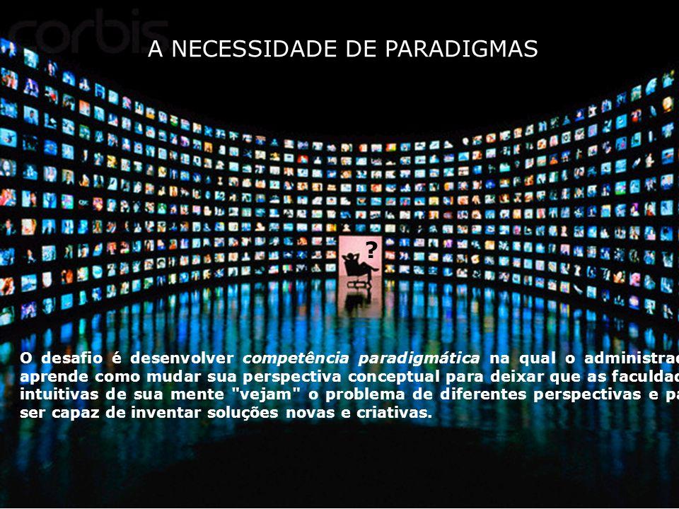 A NECESSIDADE DE PARADIGMAS O desafio é desenvolver competência paradigmática na qual o administrador aprende como mudar sua perspectiva conceptual pa