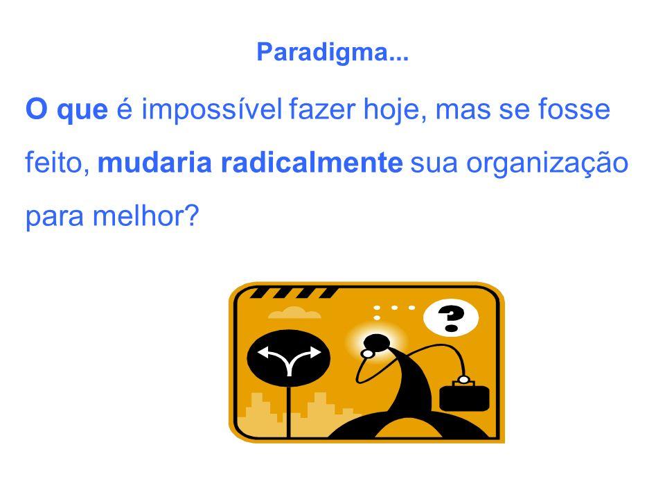 Paradigma... O que é impossível fazer hoje, mas se fosse feito, mudaria radicalmente sua organização para melhor?