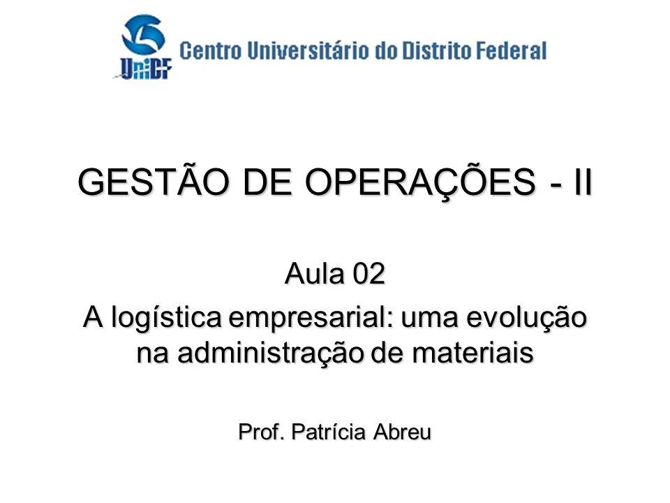 Profa. Patrícia Abreu GESTÃO DE OPERAÇÕES - II Aula 02 A logística empresarial: uma evolução na administração de materiais Prof. Patrícia Abreu