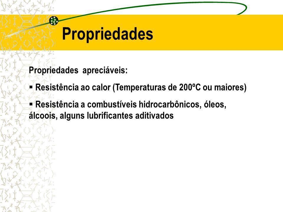 Propriedades apreciáveis: Resistência ao calor (Temperaturas de 200ºC ou maiores) Resistência a combustíveis hidrocarbônicos, óleos, álcoois, alguns lubrificantes aditivados Propriedades