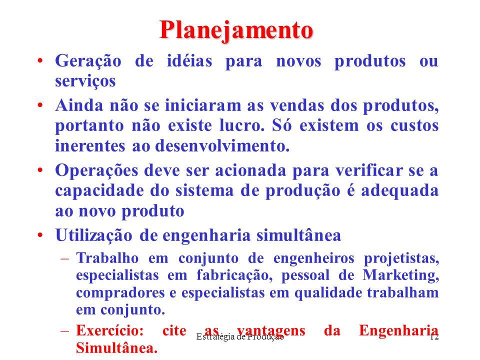 Estratégia de Produção12 Planejamento Geração de idéias para novos produtos ou serviços Ainda não se iniciaram as vendas dos produtos, portanto não ex