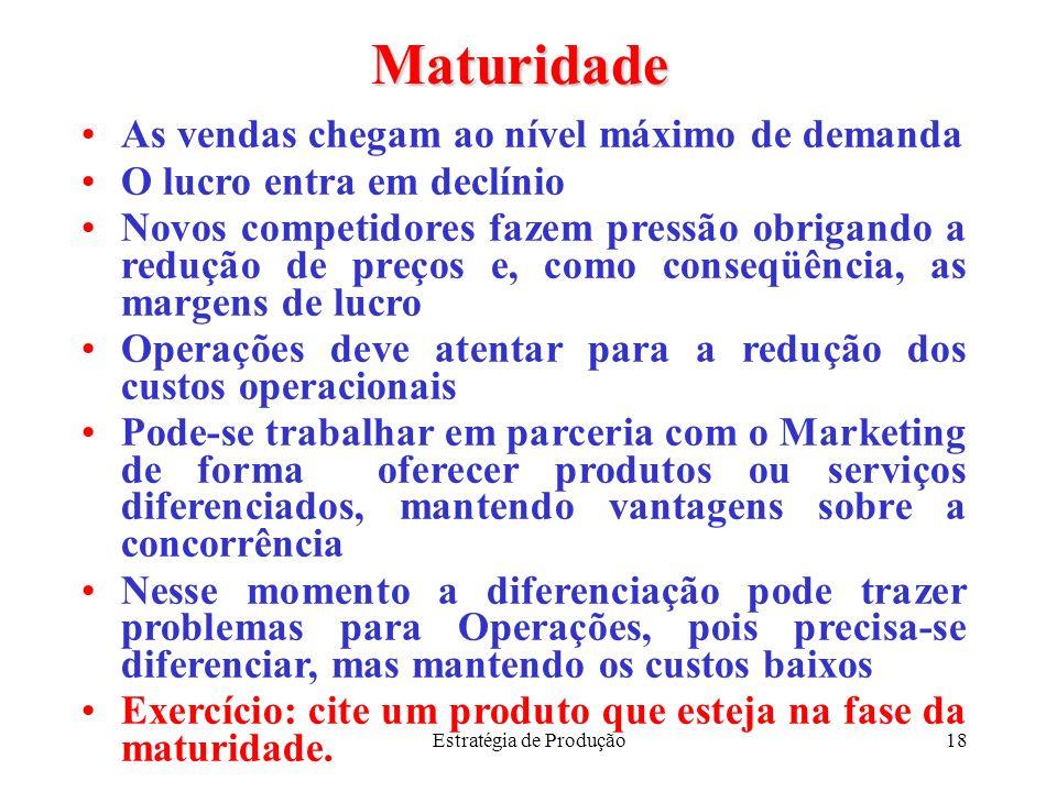 Estratégia de Produção18 Maturidade As vendas chegam ao nível máximo de demanda O lucro entra em declínio Novos competidores fazem pressão obrigando a