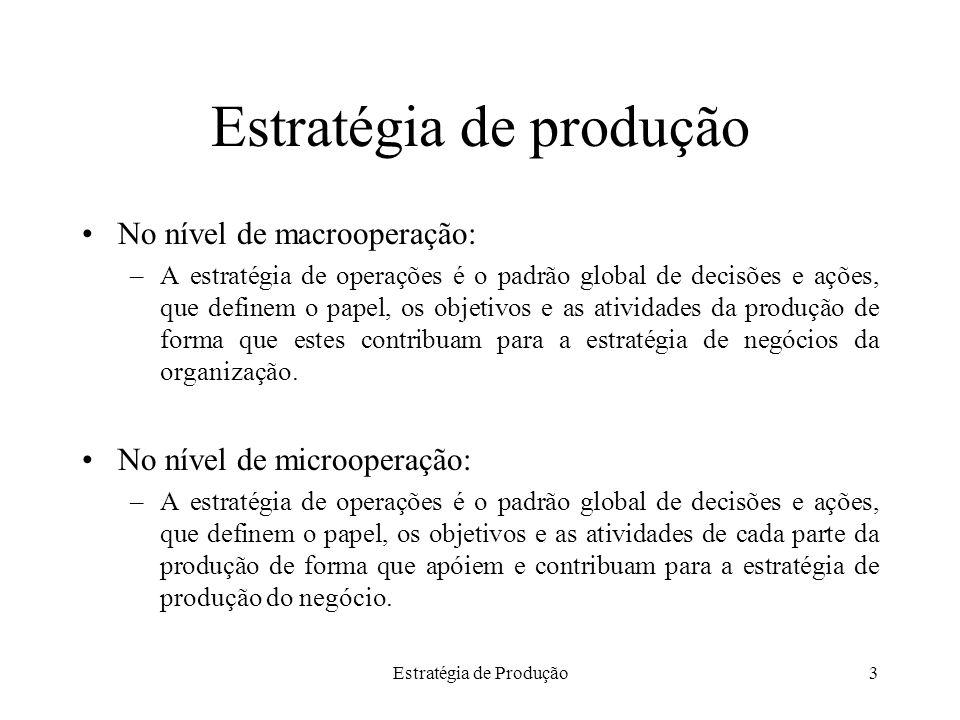 Estratégia de Produção3 Estratégia de produção No nível de macrooperação: –A estratégia de operações é o padrão global de decisões e ações, que define