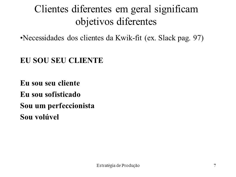 Estratégia de Produção7 Clientes diferentes em geral significam objetivos diferentes Necessidades dos clientes da Kwik-fit (ex. Slack pag. 97) EU SOU