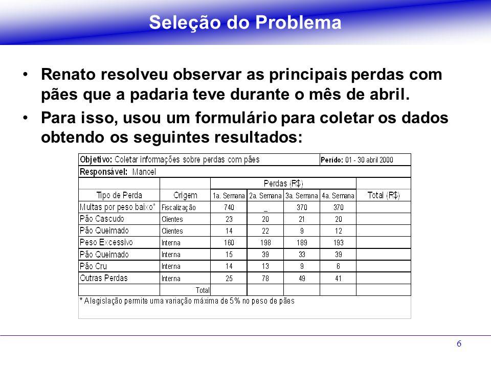7 Tarefa 2 Utilizando alguma das ferramentas, analise os dados e identifique qual problema deve ser atacado.