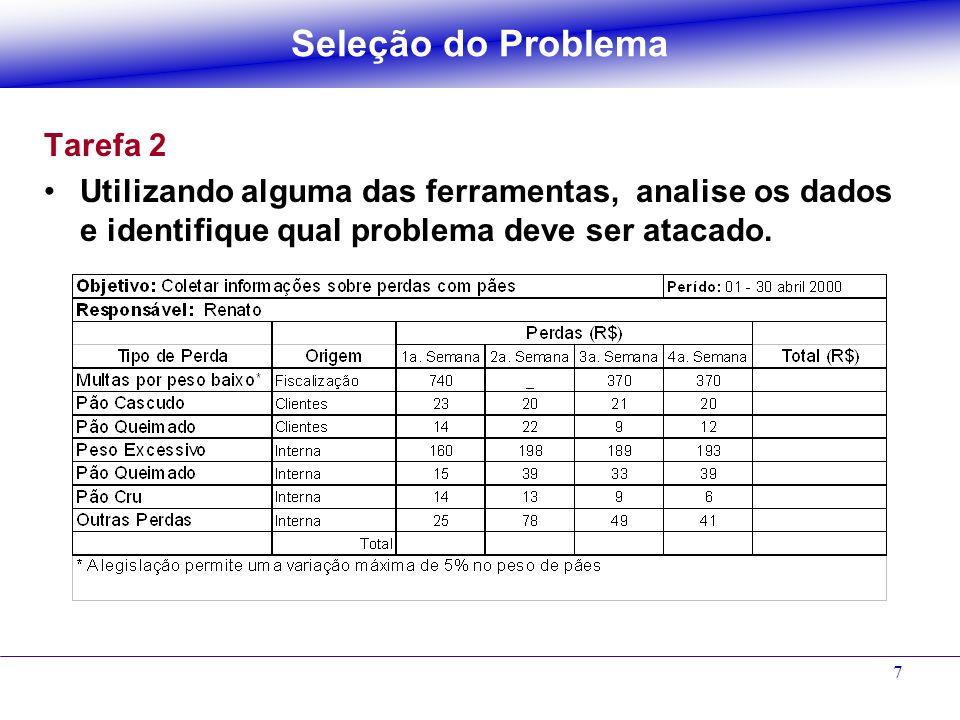 7 Tarefa 2 Utilizando alguma das ferramentas, analise os dados e identifique qual problema deve ser atacado. Seleção do Problema